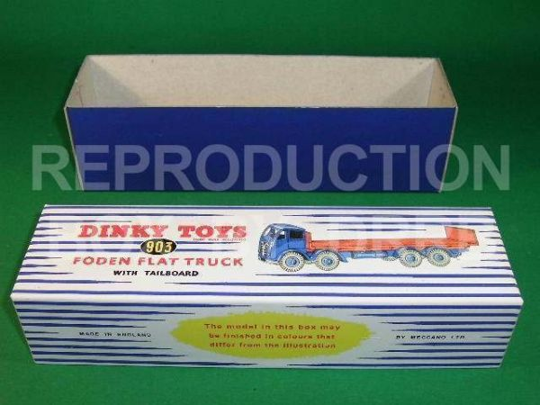 Dinky #903 Foden (2nd cab) Flat Truck with Tailboard - Reproduction Box